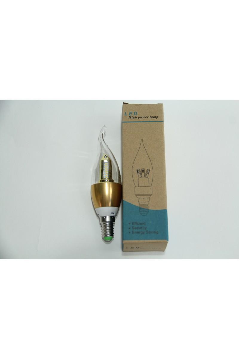 Светодиодная лампочка свеча LED 5W Е14 золото